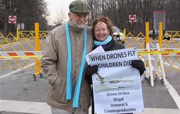 ray mcgovern kathy kelly outside cia headquarters december 2013