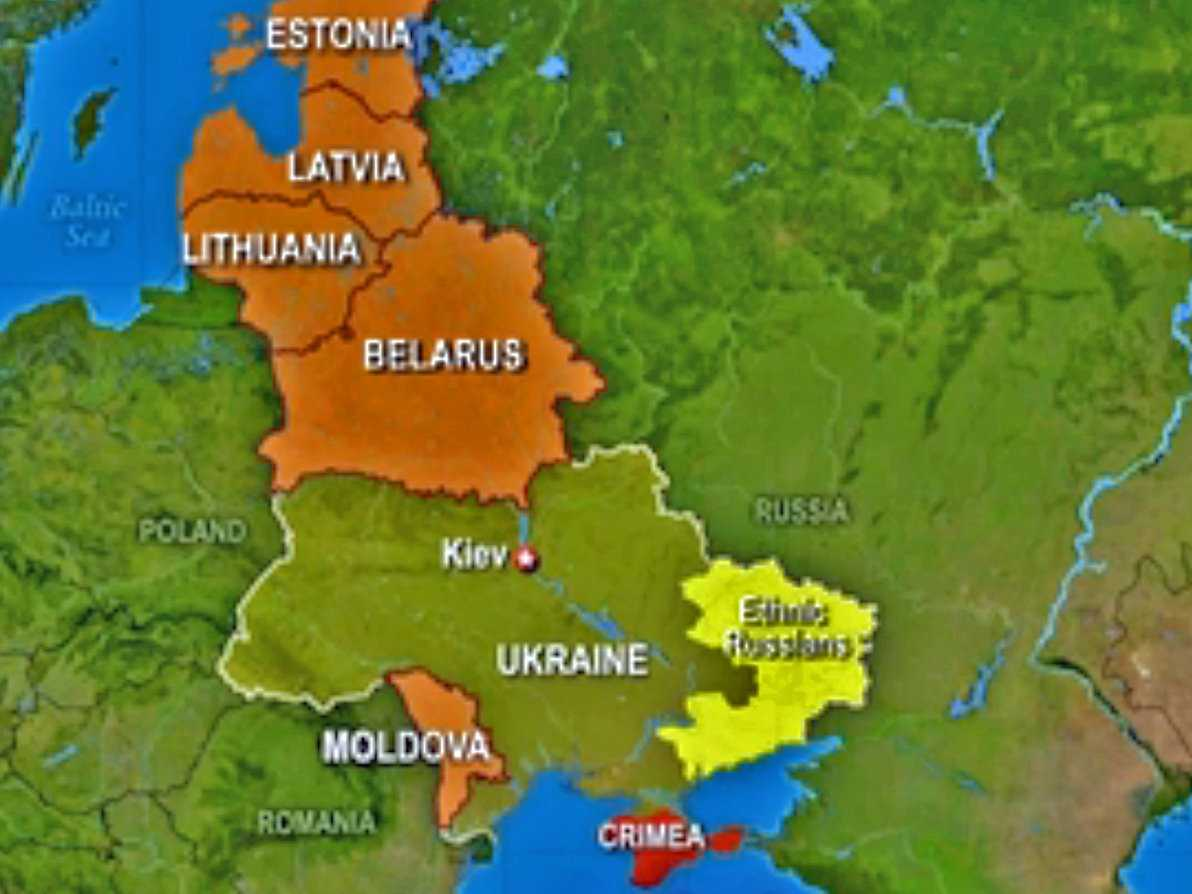 Ukraine Map with Surrounding Countries