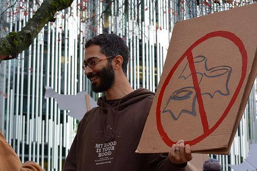 Matthew Bristow protests Mt Hood logging