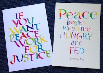 For any donation of $35 or more, receive a pair of peace postcards.