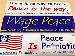 For any donation of $15 or more, a peace bumper sticker.