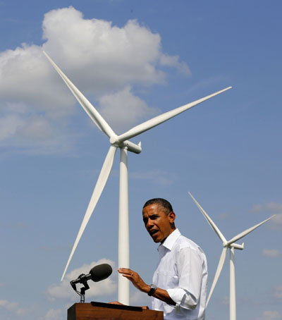 President Obama and wind turbine