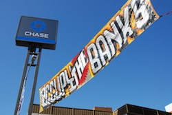 Occupy the Banks banner at Chase Bank, Oakland, CA - Nov 2, 2011