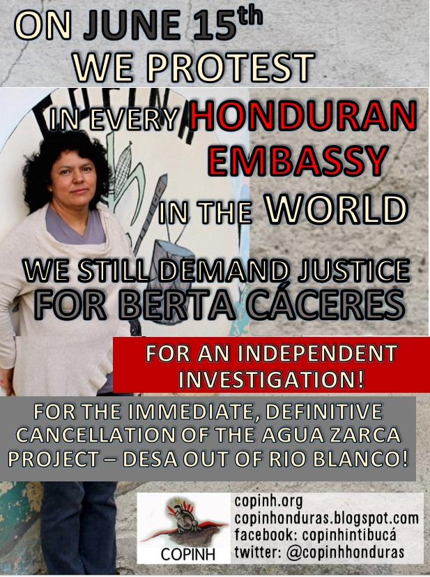 June 15: Justice for Berta Caceres